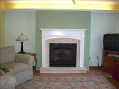 Arched Wesley mantel in white with @heatnglo  Fireplaces direct vent fireplace and Chateau Deluxe front
