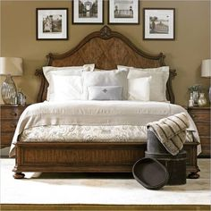 ST - Villa Fiora-Wood Panel Bed in Toasted Pecan
