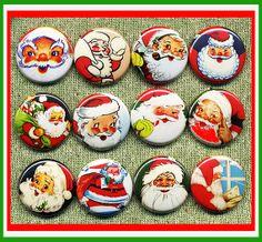 "12  vintage Santa Claus ST NICK Chris Kringle 1"" inch buttons, medallions or magnets SET B"