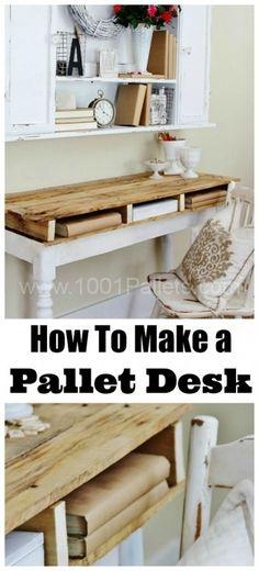 DIY instructions at Thistlewood Farmto make this kind of nice pallet desk !     ++ More information at Thistlewood Farm website ! #Desktop, #Pallets, #Reclaimed, #Vintage