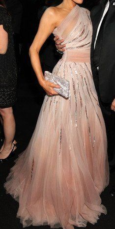 Pink tulle one-shoulder evening dress with sparkle detail