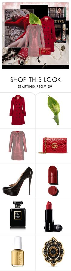 """""""Soif de vivre"""" by stephaniee90 ❤ liked on Polyvore featuring Petits Trésors, Burberry, Callas, The 2nd Skin Co., Gucci, Christian Louboutin, Chanel and Essie"""