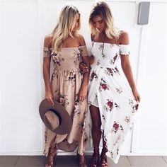 Off Shoulder Printed Khaki Long Summer Dress