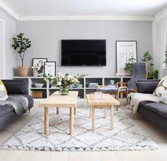 Ikea Living Room, Living Area, Apartment Makeover, Apartment Interior Design, Scandinavian Home, Family Room, House Design, Table, Tvs