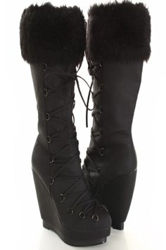 Very stylish wedge boots featuring faux leather with lace up front design, faux fur trim, almond shaped closed toe, and side zipper closure. Approximately 5 inch wedge heels and 1 1/2 inch platforms.