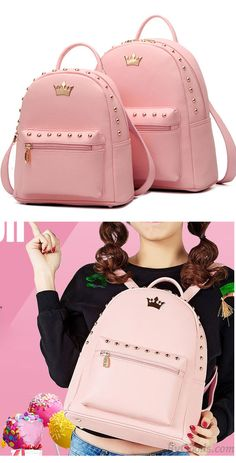 f22d784bc65c Leisure Lady Rucksack Punk Crown Rivet PU School Backpack for big sale!   backpack