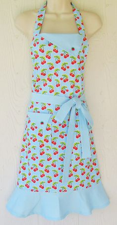 Blue Cherry Apron  Full Retro Apron  Polka Dots  by KitschNStyle