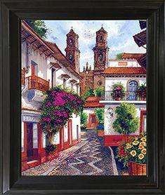 Old Mexico City Horacio Robles Jr Wall Decor Mahogany Framed Picture Art Print City Framed Art, Framed Wall Art, Wall Art Prints, Poster Prints, Posters, Frame Wall Decor, Frames On Wall, Wall Art Decor, México City