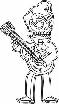 Rockabilly Calavera Hand Embroidery Pattern - Free through October 2.