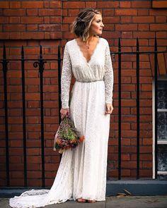 39abe787bf0 Ivory Train Wedding Dress Wrap Floral Lace Long Sleeve Train Wrap Wedding  Dress