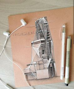 Architectural Sketch by - Architecture and Home Decor - Bedroom - Bathroom - Kitchen And Living Room Interior Design Decorating Ideas - Architecture Concept Drawings, Architecture Sketchbook, Architecture Design, Interior Design Sketches, Sketch Design, Archi Design, Instagram, Living Rooms, Room Interior