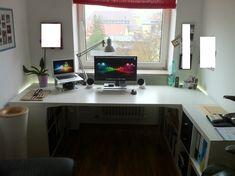 IKEA Hackers: Expedit + Vika Amon desk to fit my office perfectly 3 Expedit 1 Expedit drawer, 1 Vika Amon Tabletop, 8 Ekby Stödis brackets, optional: two Vika Kaj legs Ikea Office Hack, Ikea Home Office, Office Hacks, Desk Hacks, Home Office Furniture, Pipe Furniture, Office Ideas, Furniture Design, Office Table