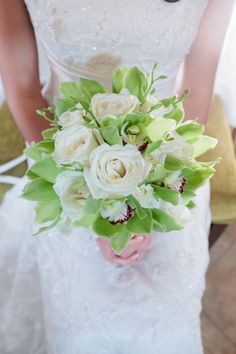 Green and white orchid bouquet
