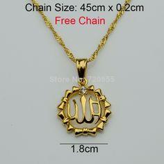 UK/_ EG/_ Women/'s Muslim Islam Middle East Arab Allah Rhinestone Hollow Necklace P