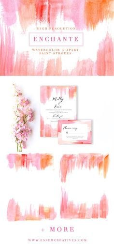 Pink Paint Strokes Clipart & Borders by Essem Creatives on @creativemarket