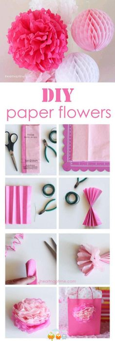 Step-by-step tutorial to make your own tissue paper flowers. These diy tissue paper flowers have so many cute uses for decoration and parties. Kids Crafts, Creative Crafts, Diy And Crafts, Homemade Crafts, Decor Crafts, Handmade Flowers, Diy Flowers, Fabric Flowers, Flower Diy