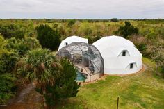 I'm liking this two-dome layout with a dome screen over the pool. :: Go #Geodesic Today: Dome, Sweet #Dome, Along Florida's Space Coast