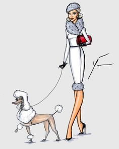 'Poodle Dignity' by Yigit Ozcakmak Poodle Drawing, White Toy Poodle, Daisy Dog, Poodle Cuts, Red Poodles, Different Dogs, My Spirit Animal, Illustrations, Fashion Sketches
