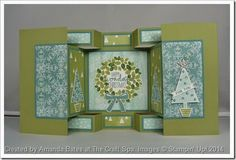 : Double Display Card fancy fold ... this one for Christmas with Stampin' Up! papers and images ... Festival of Trees, Wonderful Wreath ... created by by Amanda Bates on her blog ... The Craft Spa (1)