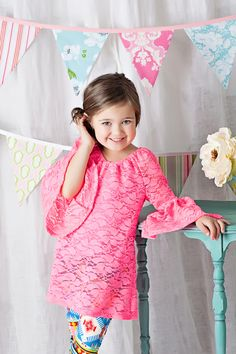 Ryleigh Rue Clothing by MVB - Girls Fully Laced Bell Sleeve Tunic Neon Pink, $32.00 (http://www.ryleighrueclothing.com/new/girls-fully-laced-bell-sleeve-tunic-neon-pink.html/)