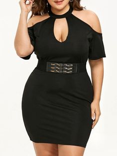 5956b33b464 Plus Size Open Shoulder Keyhole Neck Dress - BLACK XL Clothing Sites