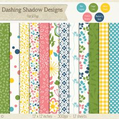 Digital Scrapbook Paper - Bright Floral Pop Paper Pack #scrapbooking #scrapbook #paper #digiscrap #supplies #page #bright #floral #flower #garden #pink #blue #yellow #green #teal