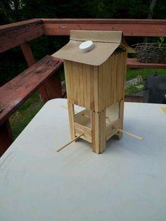 Milk Carton Recycled Crafts | Silk milk carton bird feeder!