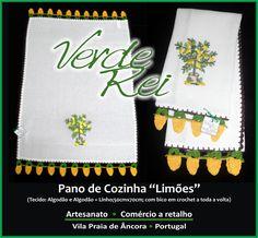 "Kitchen cloth - ""Lemons"" (100% cotton) with crochet beak (100% cotton thread)."