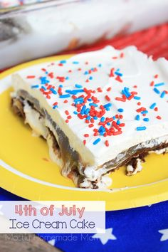 This Fourth of July Ice Cream Cake is made with ice cream sandwiches, hot fudge sauce, caramel ice cream topping, and Cool Whip! The perfect summer dessert recipe!