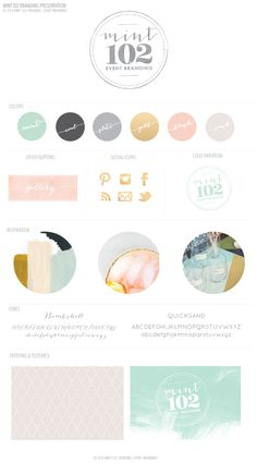 Just Re-Launched � Mint 102 Wedding Branding - mint coal slate gray grey gold pink