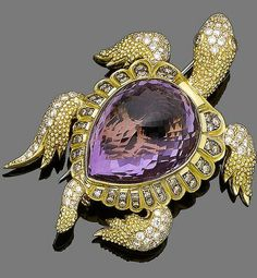 An amethyst and diamond brooch designed as a turtle, the shell set with a pear-shaped fancy-cut amethyst within a surround of brilliant-cut diamonds of brown tint, the textured body set with similarly-cut diamonds, diamonds approx. High Jewelry, Luxury Jewelry, Modern Jewelry, Jewelry Box, Jewellery, Or Antique, Antique Jewelry, Vintage Jewelry, Turtle Jewelry