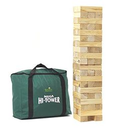 Garden Games Mega Hi-Tower in a Bag - Giant 0.9m - 2.3m (max.) Wooden Tower Block Game