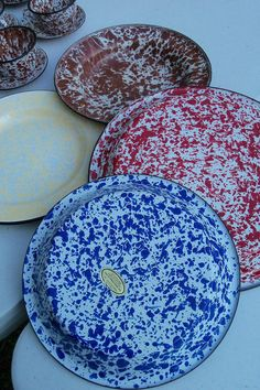 Red Speckled Enamelware   Enamel Ware Set Speckled Blue Pie Plate Red Serving Dish Yellow Camp ...