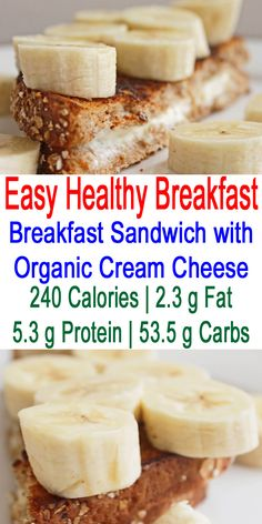 Meal Plans to Lose Weight: Simple Healthy Meals (Breakfast): Fast Healthy Breakfast Sandwich with Organic Cream Cheese