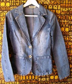 BLAZER donna jacket giacca veste woman denim BLU jeans S 42 RE & X cotone revers