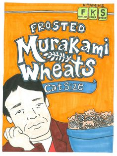 Procrastination - Authors as Breakfast Cereal Mascots by Kate Gavino Haruki Murakami, Breakfast Cereal, Drawing Tips, Book Quotes, Books To Read, Literature, Fantasy, Reading, Authors