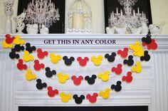 Mickey mouse garland, Mickey Birthday decor, red black yellow baby shower decor…