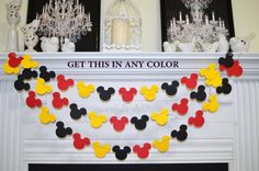 Mickey mouse garland, Mickey Birthday decor, red black yellow baby shower decor, birthday garland, Mickey garland, Mickey decoration