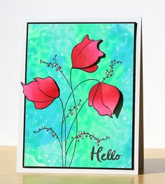 HELLO to Monoprinting, Demure stamp by Penny Black