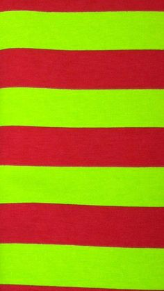 Red and Lime Green Stripes Fabric by the by EliteCraftSupplies