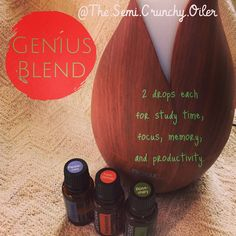 This is what I'm #diffusing now--#geniusblend. It really helps me to #focus and get things done. It is also a great #blend to #diffuse while #studying or doing #homework --not only for focus but also #memory and retention.  http://mydoterra.com/kaylabriseno1 #doterra #dōterra #doterraforthewin #doterraessentialoils #doterrafocus #diffuserblend #doterrageniusblend #study #homeworktime #nowdiffuser #diffuse #doterrafrankincense #doterrapeppermint #doterrarosemary