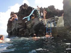 Slide in the middle of the Atlantic ocean, Azores Island ( Horta)