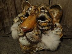 Before Sunrise  Paper mache tiger mask costume by MiesmesaBerni