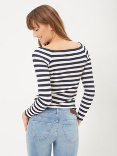 STRIPED LONG SLEEVED TOP, Total Eclipse
