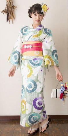 Modeling kimono or yukata. Japan