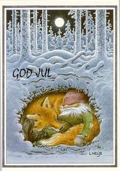 Old Norwegian yule card. Love the fox and the yule elf. Swedish Christmas, Noel Christmas, Scandinavian Christmas, Vintage Christmas Cards, Vintage Cards, Winter Christmas, Vintage Fox, Yule, Swedish Tomte