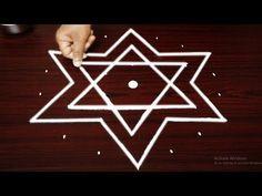 Simple star rangoli art designs with 7x4 dots for beginners - star kolam designs - muggulu design - YouTube