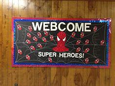 First Grade bulletin boards Spiderman theme!
