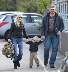 Cute family: Anna Faris (left) and Chris Pratt (right) visited a train museum with their son, Jack, on Sunday