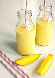 Mango lassi: 2 ripe mangoes (1 pound each) 1 cup plain yogurt 2 ...